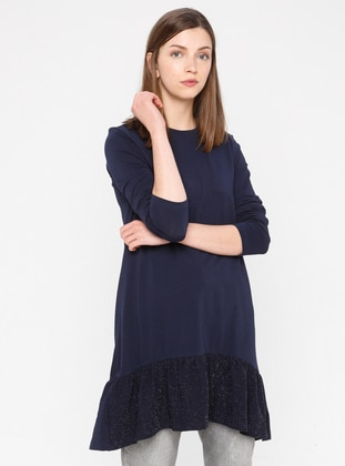 Navy Blue - Crew neck - Cotton - Tunic