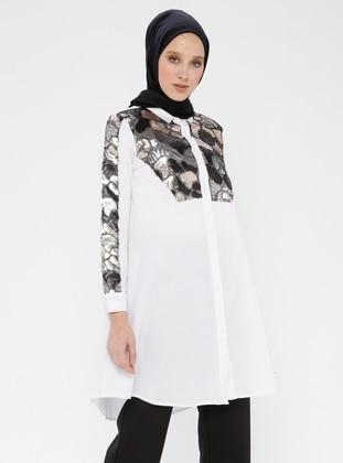 White - Button Collar - Cotton - Blouses