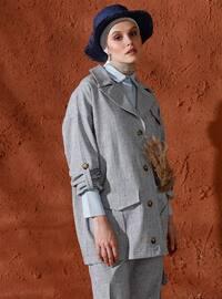 Black - Unlined - Shawl Collar - Cotton - Jacket