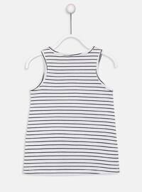 White - Stripe - Crew neck - Girls` T-Shirt
