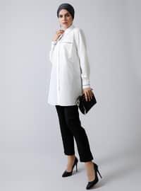 White - Ecru - Point Collar -  - Tunic