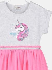 Pink - Printed - Girls` Dress