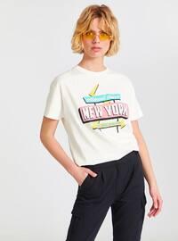Beige - Crew neck - T-Shirt