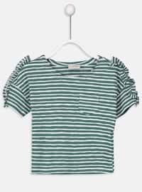 Green - Stripe - Crew neck - Girls` T-Shirt