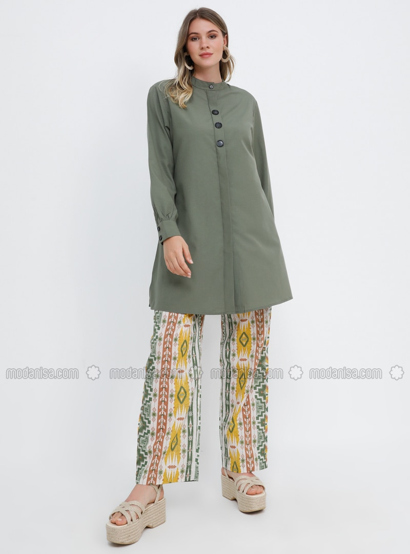 Yellow - Khaki - Ethnic - Cotton - Plus Size Pants