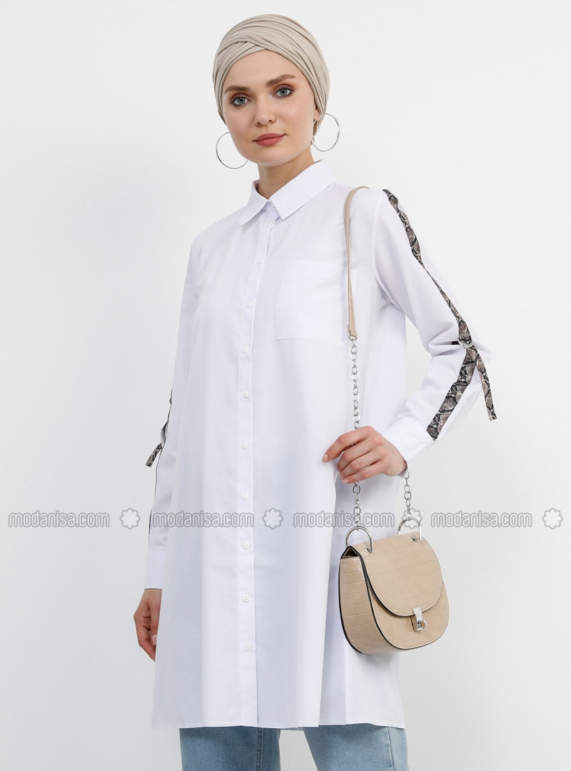 White - Ecru - Point Collar -  - Tunic