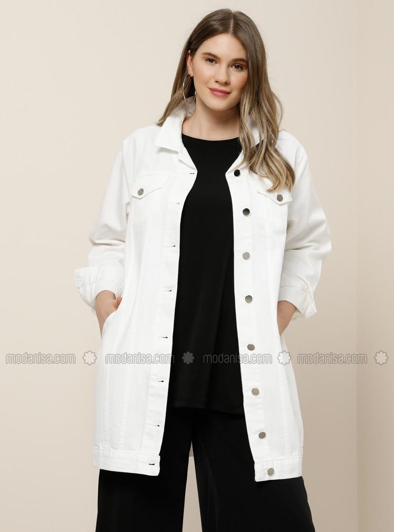 White - Ecru - Point Collar - Unlined - Cotton - Denim - Plus Size Jacket