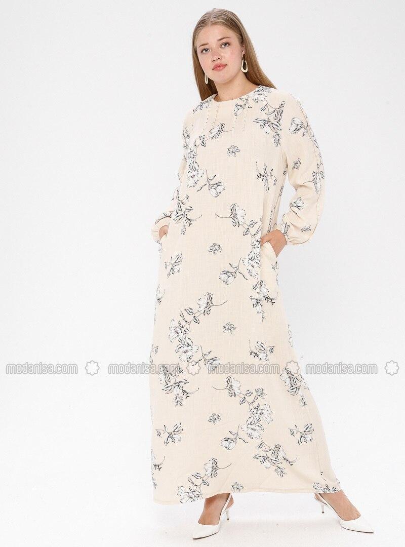 White - Cream - Multi - Unlined - Crew neck - Plus Size Dress - Ginezza