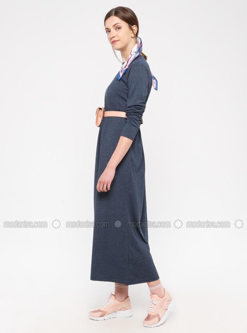 Navy Blue - Cotton - Loungewear Dresses