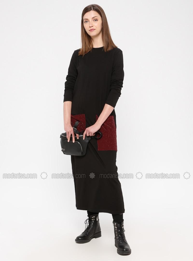 Black - Maroon - Cotton - Loungewear Dresses