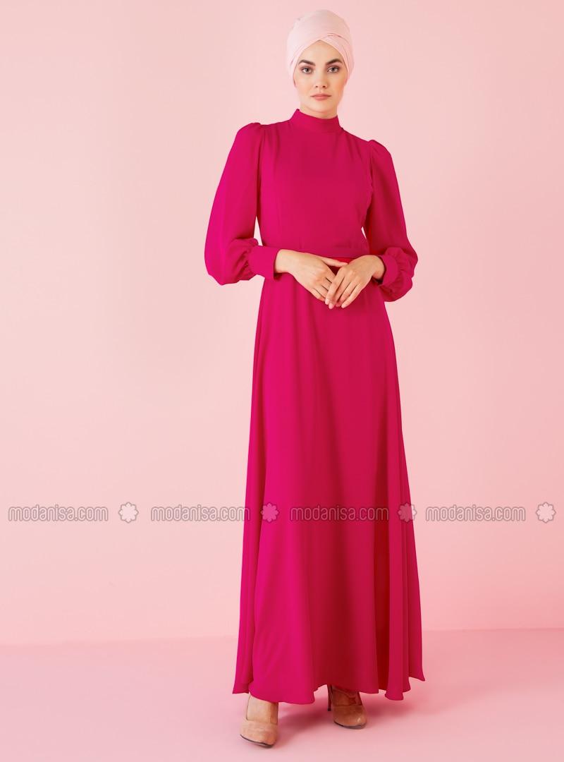 Fuchsia - Stehkragen - Mit Innenfutter - Hijab Kleid
