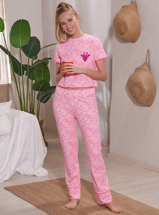 Pink - Fuchsia - Crew neck - Multi - Pyjama