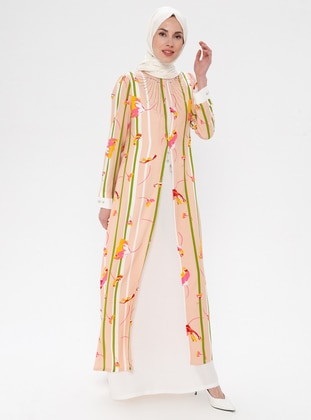 Powder - Floral - Crew neck - Fully Lined - Viscose - Dress