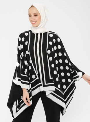 Black - Ecru - Polka Dot - Crew neck - Unlined - Poncho