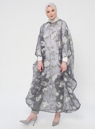 Anthracite - Floral - Unlined - Crew neck - Abaya