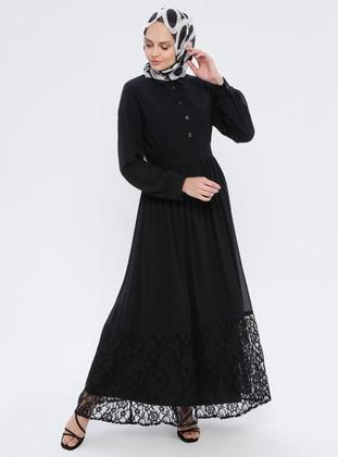 Black - Fully Lined - Point Collar - Muslim Evening Dress