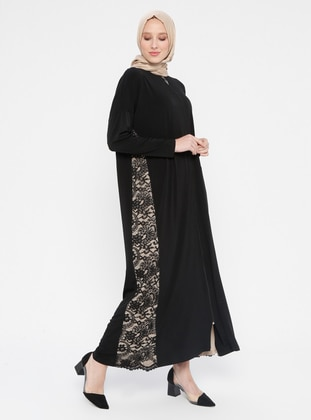 Black - Beige - Unlined - Crew neck - Abaya