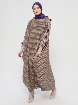 Purple - Beige - Multi - Unlined - Crew neck - Abaya