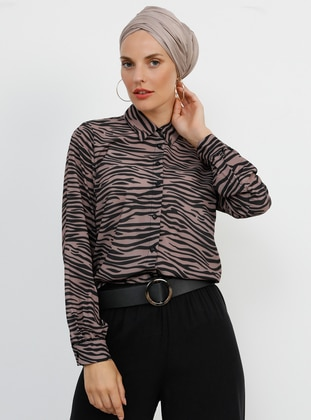 Brown - Multi - Point Collar - Blouses