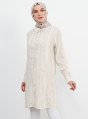 Beige - Multi - Point Collar - Viscose - Tunic