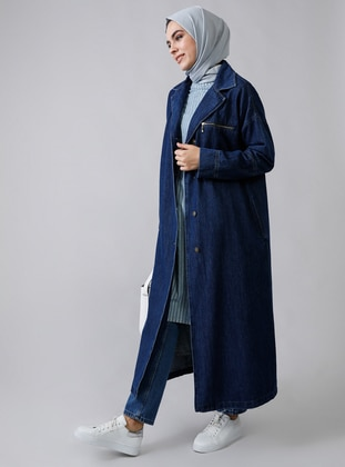 Blue - Unlined - Shawl Collar -  - Jacket - Refka