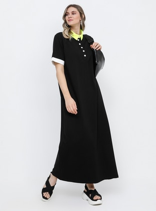 Black - White - Yellow - Ecru - Unlined - Point Collar - Cotton - Plus Size Dress