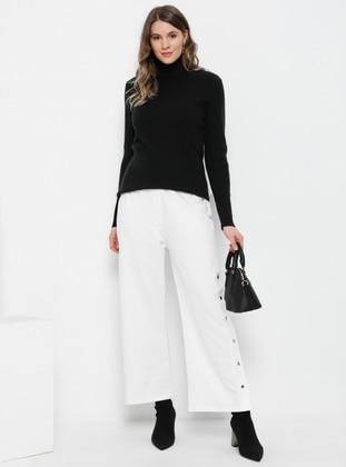 White - Ecru - Cotton - Plus Size Pants