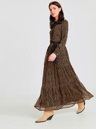 Black - Printed - Dress