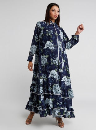 Navy Blue - Floral - Polo neck - Dress