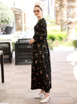 Black - Orange - Floral - Crew neck - Unlined - Dress