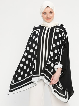 Black - Polka Dot - Stripe - Crew neck - Unlined - Poncho