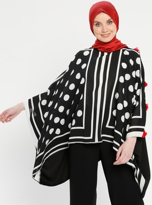 Red - Black - Polka Dot - Stripe - Crew neck - Unlined - Poncho