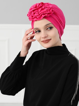 Pink - Fuchsia - Plain - Cotton - Bonnet