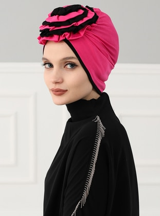Black - Fuchsia - Plain - Cotton - Bonnet