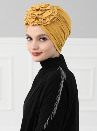 Mustard - Plain - Cotton - Bonnet