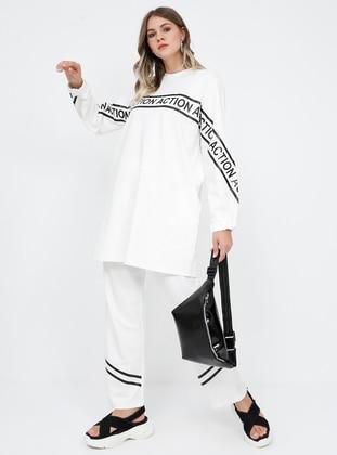 White - Ecru - Crew neck - Unlined - Cotton - Plus Size Suit