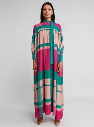 Green - Fuchsia - Multi - Polo neck - Dress