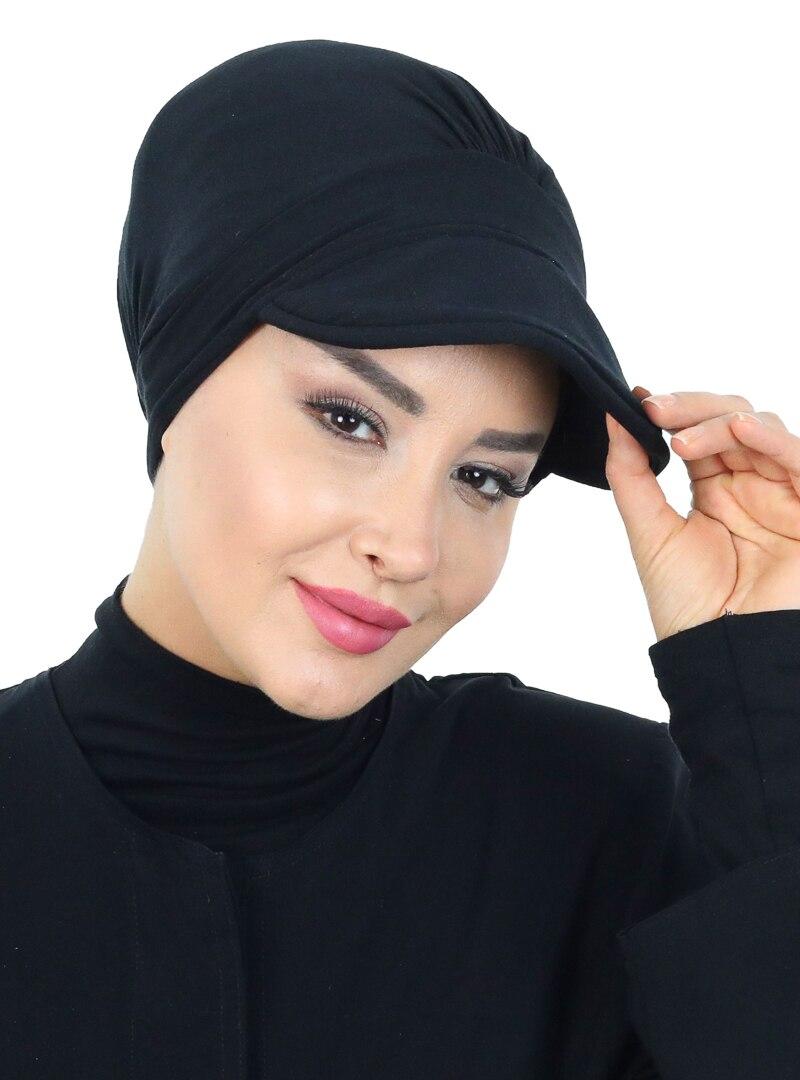 Tesettür Bone Ayşe Türban Tasarım Siyah Kadın Standart