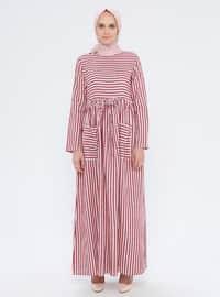 Maroon - Stripe - Crew neck - Unlined - Dress