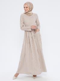 Mink - Stripe - Crew neck - Unlined - Dress