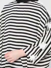 Black - Stripe - Unlined - Crew neck - Abaya
