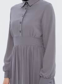 Gray - Fully Lined - Point Collar - Muslim Evening Dress