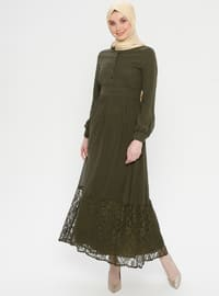 Khaki - Fully Lined - Point Collar - Muslim Evening Dress