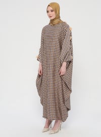 Purple - Mustard - Multi - Unlined - Crew neck - Abaya