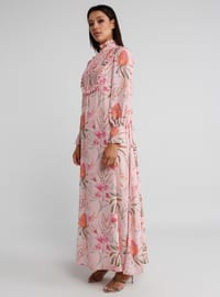Powder - Floral - Polo neck - Dress