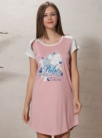 Dusty Rose - V neck Collar - Nightdress