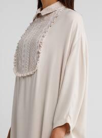 Ecru - Point Collar - Dress