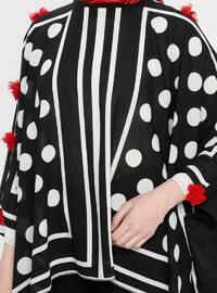 Red - Black - Polka Dot - Stripe - Crew neck - Unlined - Poncho