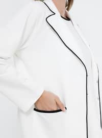 Black - White - Ecru - Shawl Collar - Unlined - Cotton - Plus Size Suit
