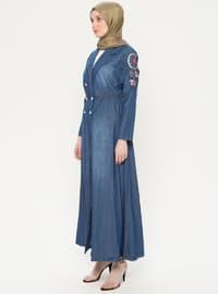 Blue - Unlined - Shawl Collar - Cotton - Denim - Topcoat
